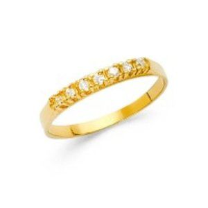 tiny 14k Yellow gold Children CZ Pinky Ring